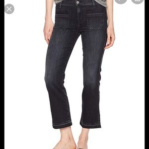 7 For All Mankind Cropped Boot Flare Jeans Black